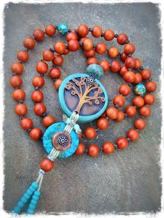 Yggdrasil necklace TREE of life mala necklace Turquoise by GPyoga, $78.00