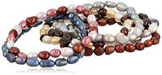 Dyed Fall Tones Freshwater Cultured Pearl Stretch Bracelet Set, Set of Seven