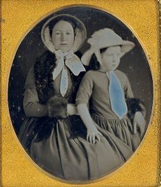 daguerreotype of mother and daughter wearing their bonnets