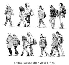 New Pics drawing people walking Style : If finding out how to lure is one thing you might have always aspired to do, as well as you might be wanting to sharpen your own illustration knowledg. Figure Sketching, Figure Drawing Reference, Urban Sketching, Sketches Of People, Art Sketches, Art Drawings, Person Drawing, Drawing People, Walking Poses