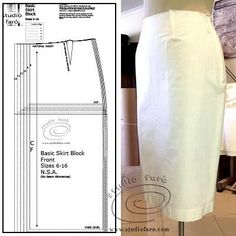Draft your own skirt block. Basic Skirt Block Draft Video Video in my FREE members area. Pdf Sewing Patterns, Knit Patterns, Vintage Patterns, Sewing Tutorials, Clothing Patterns, Vintage Sewing, Dress Patterns, Sewing Diy, Sewing Ideas