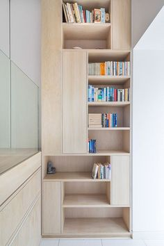 Stylish Shelves Interior of Renovated Chelsea Building: Amazing Chelsea Town House Interior With The Wooden Bookshelves And Glass Panel Near. Plywood Interior, Plywood Furniture, Home Furniture, Furniture Design, Bookshelves, Plywood Bookcase, Bookshelf Ideas, Interior Inspiration, Interior Architecture