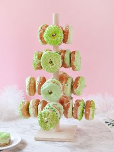 Display festive donuts on this DIY stand made of wooden dowels!
