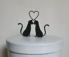 Wedding Cake Topper Two Cats in Love by Plasticsmith on Etsy, $20.00