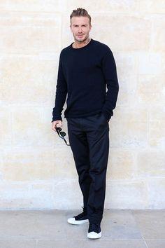 David Beckham foi todo de preto com um sapato de sola branca (alerta tendência!)