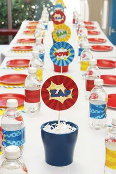 Superheroes birthday party table! See more party planning ideas at CatchMyParty.com!