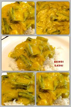The Traditional Bhindi Kadhi is a yogurt based tangy and spicy curry dish. It is a popular dish in North India and is mostly served with steamed rice or jeera (cumin seeds) rice. Indian Food Recipes, Ethnic Recipes, Curry Dishes, Steamed Rice, Okra, Yogurt, Spicy, Good Food, Vegetarian