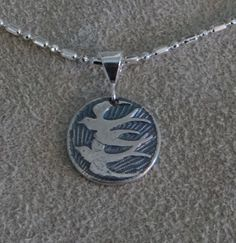 Love Birds Soar Pendant Necklace Fine Silver Blue by SilverKomodo