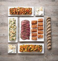 Buffets viandes, saumon, poulet, pâtes, taboulé, salade de tomates....