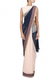 Manish Malhotra Peach and navy blue printed pallu sari with blue raw silk blouse piece