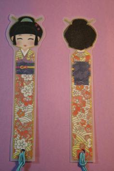 marcalibros geisha  papel,plástico,cordón ilustración