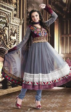 Grey Full Sleeve Georgette Anarkali Salwar Kameez 15824