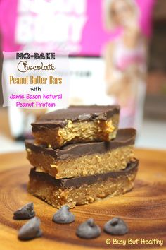 No-Bake Chocolate Peanut Butter Bars with Jamie Eason Natural Peanut Protein - 96 cals a bar, and gluten-free, lactose-free and sugar-free!