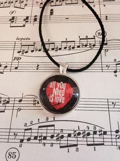 Music themed handmade glass pendant and by MusicAsArtBySarah