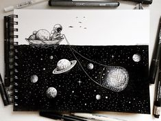 Nenhuma descrição de foto disponível. Space Drawings, Pencil Art Drawings, Drawing Sketches, Art And Illustration, Ink Illustrations, Amazing Drawings, Cool Drawings, Amazing Art, Doodle Art