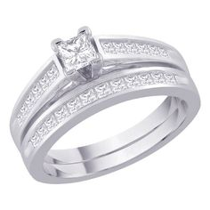 Basic Channel Set Diamond Engagement Ring with Matching Band in 14K White Gold (1 cttw, G-H Color, SI2-I1 Clarity)
