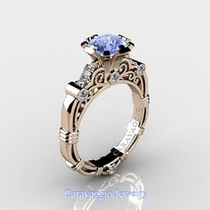 Caravaggio 14K Rose Gold 1.0 Ct Light Blue Ceylon by artmasters