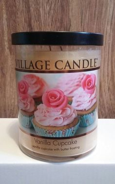 18 OZ. VANILLA CUPCAKE VILLAGE CANDLE WITH TIN LID  #VillageCandle