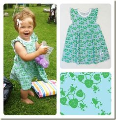Catarina: lovely birthday dress with blue frogs