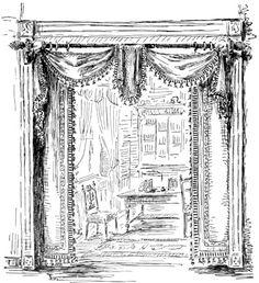 Portière Styles and Design Tips - Victoriana Magazine Victorian Interiors, Victorian Decor, Vintage Interiors, Victorian Homes, Victorian Era, Bedford House, Victorian Curtains, Curtains And Draperies, Window Curtains