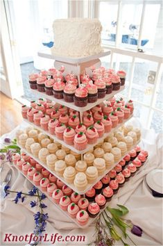 Coral And White Wedding cupcakes | shades of pink and peach alternate with white frosted cupcakes ...