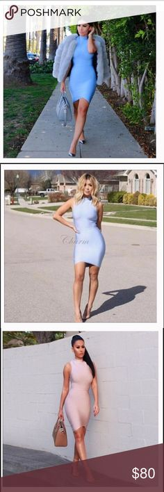 High Neck Women's Sleeveless Bandage Dress New fashion sleeveless high neck women bandage dresses bodycon sexy arched mini celebrity party dress Queen Esther Etc Dresses Mini