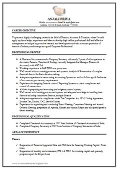 excellent work experience chartered accountant resume sample doc 9 fresher resume format for mca