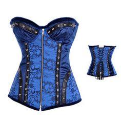 Atomic Blue and Black Studded Steel Boned Corset   Atomic Jane Clothing www.atomicjaneclothing.com