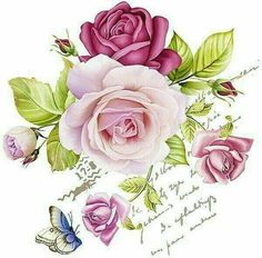 Beautiful mauves and pinks Decoupage Vintage, Vintage Diy, Vintage Cards, Vintage Paper, Decoupage Art, Flower Prints, Flower Art, Vintage Rosen, Decoupage Printables