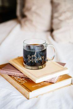 Good Morning gold foil glass coffee mug