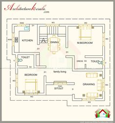 1300 sq ft house plan and contemporary style elevation , separate drawing and dining , three bedrooms with attached bathroom, 1300 sq ft house plan with elevation estimate cost 25 lakhs only . Indian House Plans, Best House Plans, House Floor Plans, House Design Drawing, House Drawing, Small Floor Plans, Small House Plans, Bedroom Layouts, House Layouts