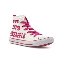 16802 Hi-Top Trainers are not only super comfy they look super cool too! Rock the trend this Spring in these Pineapple Pink and White Hi-Top Trainers! Style with your favourite jeans for a cinema date. £14.99 #womenstrainers #hitoptrainers #springtrend