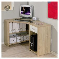 Banbridge corner computer desk in sonoma oak with 1 drawer - 27098 home & office computer desk table, modern & contemporary. Storage with drawers, white high. Metal Computer Desk, Home Office Computer Desk, L Desk, Home Office Chairs, Computer Desks, Bureau Design, Desk Storage, Storage Spaces, Contemporary Home Offices