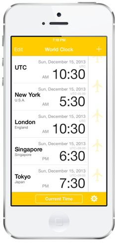 World Clock-Time Difference Clock- #travel #world #iPhone #App #Apple