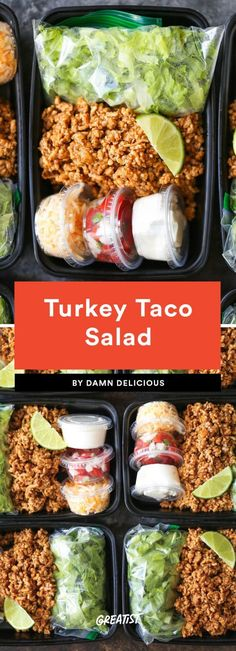 Turkey Taco Salad Consider this your excuse to celebrate Taco Tuesday all week. The genius here lies in those mini plastic containers you'd usually find ketchup in—buy a pack and fill them with cheese, Greek yogurt (a sour cream sub), and pico de gallo.