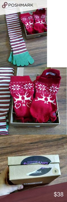 Christmas Toesox Package 3 Pairs of Toesox.  1 long knee high stripes 2 pairs of red reindeer ankle full toe sox  Package opened to take pics Sizing in pics toesox Accessories Hosiery & Socks