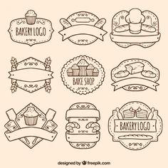 Pacote desenhados mão logos de padaria                                                                                                                                                     Mais