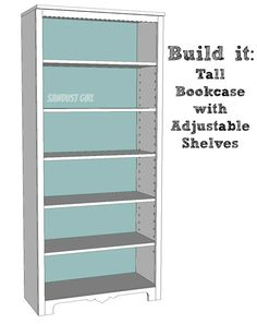 Tall bookshelf with adjustable shelves - free and easy plans from https://sawdustgirl.com.