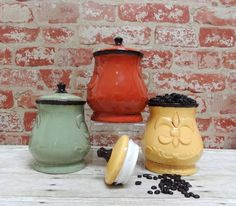 Tuscany Hand Painted Jar Set Fleur De Lis Sugar Canister Tea Containers Set  Of 3