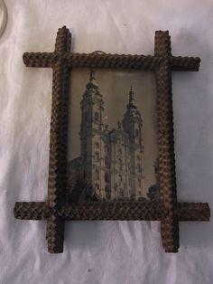 Antique German Wooden Tramp Folk  Art Picture Frame #A