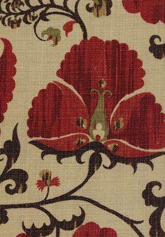 Zarafshan fabric in Geranium/Moss.