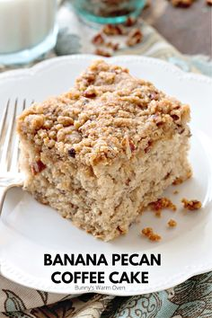 This banana coffee cake is loaded with pecans and bananas then topped with a delicious Streusel topping. I've even had people not like banana be obsessed with this recipe!