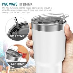 Built Tougher- The Atlin Tumbler is 7 high and carries up to of liquid; all while being able to fit in standard size cup holders. Coffee Tumblr, Cup With Straw, Cup Holders, Beverages, Drinks, Travel Mug, Tumbler, Coffee Cups, Mugs