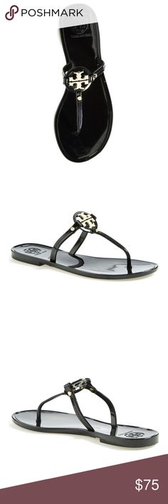 Tory Burch Mini Miller' Flat Sandal size 6 Tory Burch Mini Miller' Flat Sandal size 6 A gleaming logo medallion takes center stage on a glossy, casual-chic thong sandal.  Known for rich color, bold prints and clean, graphic lines, Tory Burch designs have been making a splash since the brand debuted in 2004—always embodying the designer's own inimitable style and sensibility.❌ these were a display models in a department store❌🚨NO BOX🚨🛑NO TRADES🛑⛔️OPEN TO ANY OFFERS⛔️ Tory Burch Shoes…