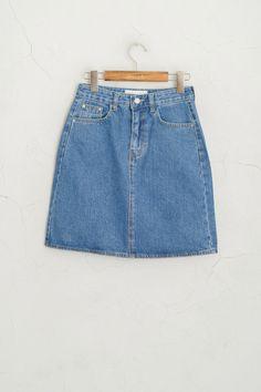 Simple Denim Mini Skirt, Blue