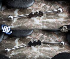 Steel Batman industrial barbell omg I need this! Industrial Piercings, Industrial Earrings, Industrial Barbell, Lip Piercing, Body Piercings, Piercing Tattoo, Ear Jewelry, Body Jewelry, Jewelery