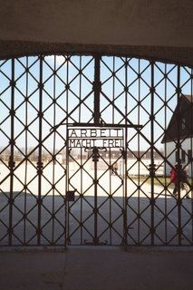 Dachau, Germany  Concentration Camp WWII.  Gate states - work will set you free -   Never Forget