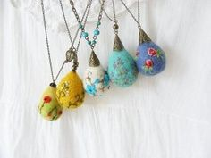 Felted and Embroidered Pendants