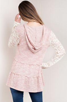 Lace Sleeved Hoodie Top
