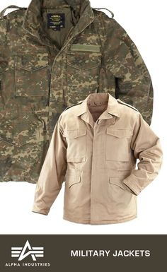 Alpha Industries Men's Military Jackets. These jackets, inspired by the M-65 field coats worn by American soldiers, are great for active wear or streetwear. Click on the image for more details.